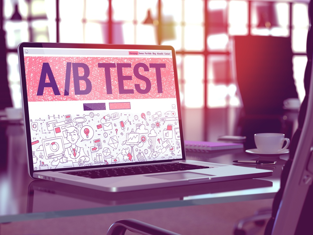 AB Test Concept. Closeup Landing Page on Laptop Screen in Doodle Design Style. On Background of Comfortable Working Place in Modern Office. Blurred, Toned Image. 3d Render..jpeg