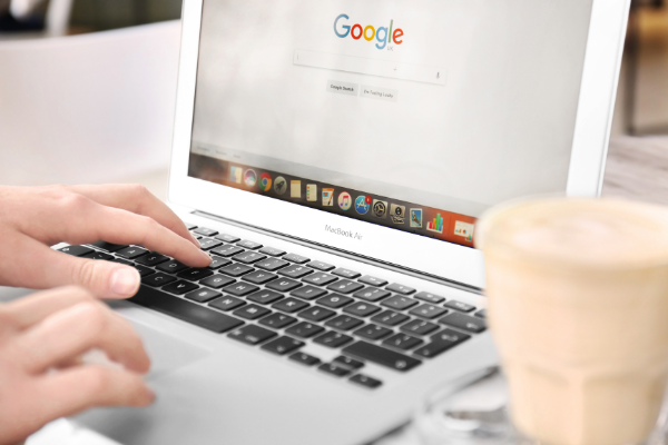 google search engine on laptop