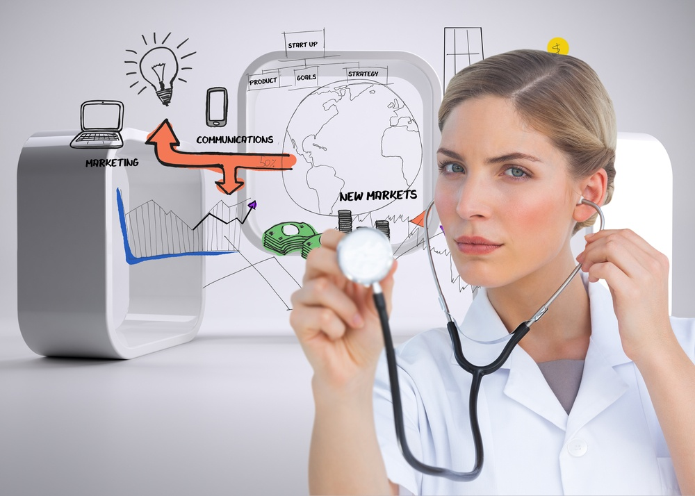 Composite image of serious nurse listening with stethoscope and looking at the camera.jpeg